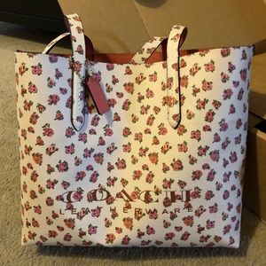 Coach Floral Pebble Leather Tote